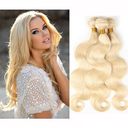 Wholesale Hair Color Dye Australia - 8A Brazilian Blonde Body Wave Hair Weave 100% Human Hair Blonde 613# Color Double Weft No Shedding Tangle Can Be dyed 3Bundles lot