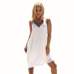$enCountryForm.capitalKeyWord NZ - Womens Sexy V-Neck Dress Summer Brief Solid Sleeveless Beach Dresses A-Line Spaghetti Strap Chiffon Dress Black White Vestido #L