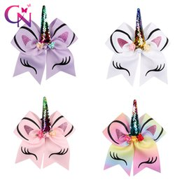 Hair Holders online shopping - Princess Unicorn Cheer Bow With Ponyrtail Holder Ribbon Hair Bow With Clip Fabric Cheerleading Bows Girl Hair Accessories