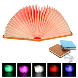 $enCountryForm.capitalKeyWord UK - USB Rechargeable LED Foldable Book Lights Magnetic Pages Folding Led Book Shape Creative Table Lamp Colorful Lighting