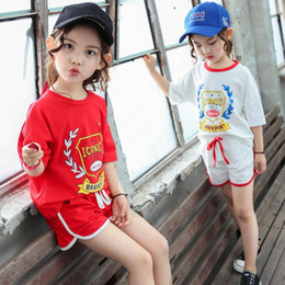 $enCountryForm.capitalKeyWord NZ - New Summer Children Sets Active Pullover T-shirts+Shorts Girls Sets Printing Pattern For 2-10 Year Girls Wear