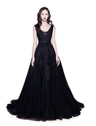 $enCountryForm.capitalKeyWord UK - Black V neck Backless Elegant Sexy Beautiful Evening Dresses A Line Sweep Train Applique Prom Dresses Formal Party Gowns