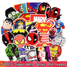 Wholesale 50pcs Mixed Super Hero Stickers Funny Kids Sticker for DIY Luggage Laptop Skateboard Motorcycle Phone Sticker