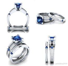 Großhandel Uphot Neue Ankunft Luxus Schmuck Drop Shipping 925 Sterling Silber Gefüllt Multi Farbe Princess Cut Edelsteine CZ Diamant Hochzeit Braut Ring