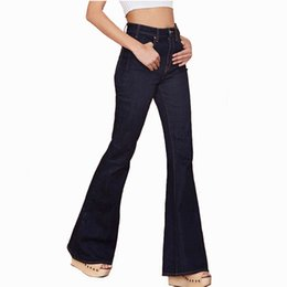 Discount design jeans trousers - Vintage Design Middle Waist Flare Jeans Trousers Women Slim Double Pockets With Buttons Denim Pants Feminino