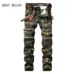 red plaid pants plus size 2019 - DANT BULUN Men's Camouflage Biker Jeans Pants With Multi Colour Zipper Designer Pleated Motorcycle Denim Trousers W