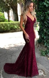 unique summer dresses for women Australia - Unique Burgundy Lace Evening Dresses Mermaid Prom Dresses 2020 Sexy Deep V Neck Backless Long Formal Gowns for Women Party Dresses USA UK