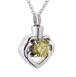 Memorial Pendants For Ashes Australia - IGD9937 Crystal heart cremation Urn Necklace Pendant Ash Holder Mini Keepsake Memorial Jewelry for women
