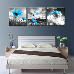 $enCountryForm.capitalKeyWord NZ - Home Decoration living room Wall picture canvas oil painting Print cuadros 3 piece vintage blue Sunflower Wildflowers