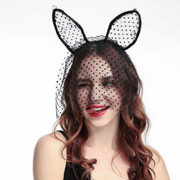 Women Face Mask Sex NZ - Halloween Party Lace Cat Ears Headband Headwear Party Mask - Black White Sex Women Hair Headbands Wedding Photography Hair Hoop Accessories