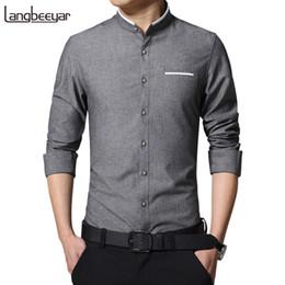 $enCountryForm.capitalKeyWord Australia - New Fashion Casual Men Solid Shirt Long Sleeve Mandarin Collar Slim Fit Shirt Men Korean Business Mens Dress Shirts Men Clothes M -5xl