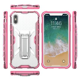 Clear Rugged Cases NZ - Hybrid Case For Iphone X 8 7 Plus 6 6S Hard Plastic+Soft TPU Layer Stand Holder Defender Rugged Shockproof Crystal Clear Phone Cover Skin