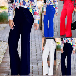Wide Leg Work Pants Canada - Fashion Women's High Waist Flared Wide Leg Long Pants Work Casual Palazzo Loose Long Trousers Plus Size Leggings Pantalon S-2XL