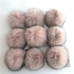$enCountryForm.capitalKeyWord Canada - Pearl Pink-10cm-12pcs Real Genuine Fox Fur Ball PomPom Phone Car DIY for Keychain Pendant Handbag Charm