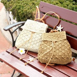 $enCountryForm.capitalKeyWord NZ - Linion Handmade Rattan Straw Backpack Women Summer Woven Hollow Out Drawstring Backpack Knitted Girls Beach Shopping Travel Casual Bags