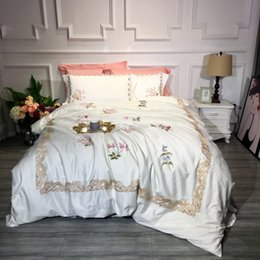 $enCountryForm.capitalKeyWord Canada - simple Creamy white luxury Pastoral Embroidery 60S Egyptian Coon Bedding Set Queen King Size Duvet Cover Bed sheet Pillowcases