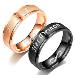 Discount devil love angel - Angel and Devil Couple Ring 2018 Europe and America New Her Demon His Angel Eternal LOVE Graduation Ceremony Couples Gif