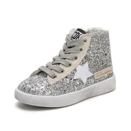 China High Top Toddler Shoes Girls Shining Sequins Canvas Shoes Kids Small Dirty Shoes Star Children Sneakers Side Zipper cheap shining star shoes suppliers