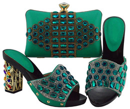ee8c9bdc63ab Hot sale teal women pumps and bag with big crystal african shoes match  handbag set for dress FGT003