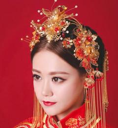 $enCountryForm.capitalKeyWord Australia - Chinese brides head ornaments, ancient costumes, red crows, red ornaments, Xiu dress, headwear, wedding dress, Qipao hair accessories