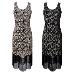 great gatsby sequin dresses NZ - Wholesale Free Shipping Women Vintage Flapper Great Gatsby O-Neck Sleeveless Sequin Long Tassel Summer Vest Party Dress