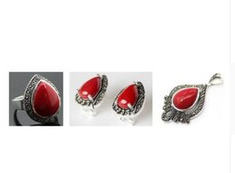 sterling silver mother pearl ring UK - Free Shipping Lady's designed Red Carved Lacquer Marcasite 925 Sterling Silver heart Ring(#7-10) Earrings & Pandent jewelry sets