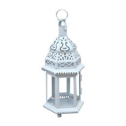 $enCountryForm.capitalKeyWord NZ - European Metal Candlestick Lantern Iron Wedding Decor White Candle Holder Home Decor Moroccan Retro House GLass Candlesticks