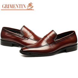 Grimentin Shoes UK - GRIMENTIN Hot sale brand mens loafers fashion designer genuine leather men dress shoes Italian black brown formal business office male shoes