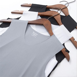 Wholesale high neck tank top men for sale - Group buy Summer Men tshirt Clothes High Quality Ice Silk Tank Top Men Casual V Neck Stretchy Breathable Thin Plus Size T shirt
