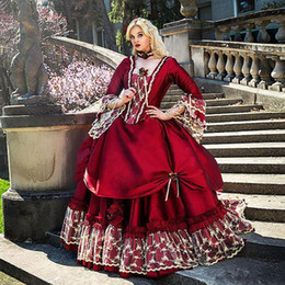 $enCountryForm.capitalKeyWord Australia - Vintage Burgundy lace Evening Quinceanera Dresses Square Neck Long Sleeve Floor Length lace-up corset gothic Masquerade Prom Dresses