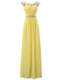 China Chiffon Long Evening Dresses 2019 Beaded Scoop Neck Evening Gowns Pleated Floor Length Prom Dress Vestido De Festa Longo supplier ivory empire prom dress suppliers