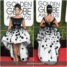 celebrities wearing pearl pink dresses UK - Sexy Janelle Monae Celebrity Party Dresses Black and White Sequins Handmade Flowers 2018 New Golden Globe high low cocktail Evening Gown