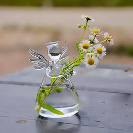 Vasi di piante di fiore di vaso di forma di vetro trasparente angolo appeso in piedi creativo idroponica contenitore Home Office decorazione NNA414