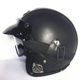 Discount vespa moto - FREE SHIPPING red Adult Open Face Half Leather Helmet Harley Moto Motorcycle Helmet vintage Motorcycle Motorbike Vespa