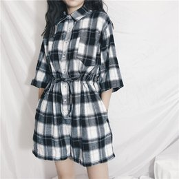 $enCountryForm.capitalKeyWord NZ - Summer Fashion Women's Clothing New Drawstring Loose Plaid Playsuits Shorts Hipster Casual Playsuits Short Sleeve Womens Rompers