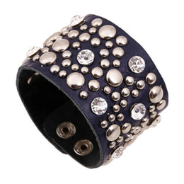 Bracelet fasteners online shopping - New Fashion Alloy Round Button Rivets Leather Bracelet Black Punk Crystal Wide Wristband Snap Fastener Jewelry Accessories Gifts