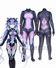 Discount zentai female - 3D Printed Game Neptunia Superhero Lycra Zentai Bodysuit Halloween Cosplay Party suit
