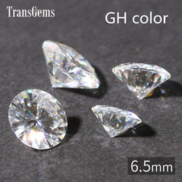 $enCountryForm.capitalKeyWord Australia - TransGems 1ct Carat 6.5mm GH Color Round Brilliant Cut Lab Grown Moissanite Diamond Test Positive 1piece