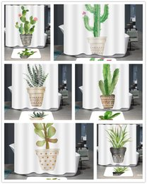 Wholesale Potted Plant Polyester Waterproof Shower Curtain Cactus D Digital Printing Bath Curtain Home Bathroom Decor cm