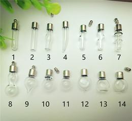 50 piezas mezclado SCREW CAP frasco de vidrio colgante Miniatura Botella de Deseos claro aceite encanto nombre o arte del arroz en venta