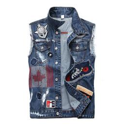3be34cc360 Trendy high quality jean vest jacket mens slim fit rock hip hop streetwear  men vest denim jackets patch badges scratched teen