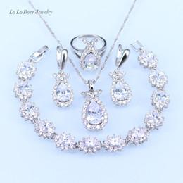 9566cb5ad118 LB Australia cristal blanco color plata conjunto de joyas para mujeres  pulsera de circón   collar   colgante   pendientes   anillo con 925 sello