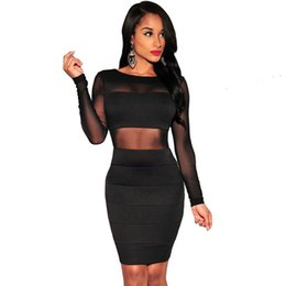 5f0813eb5da5 Xs -Xxl Sexy Bandage Dress New Winter Black White Dress Long Sleeve Mesh  Patchwork Hollow Out Pencil Bodycon Dress Female Dresses