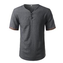 124450aa Cotton Linen Shirt Men Brand Short Sleeve Mens Henley Shirt Casual Slim Fit  Plaid Mens Dress Shirt 3 Buttons Chemise Homme