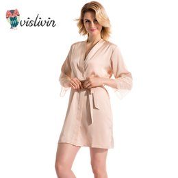 Vislivin Summer Dress Silk Robe Women s Pajamas Sexy Bathrobe Dressing Gowns  For Women Sleep Lingerie Pajamas Night Bathrobes S1015 af48503d2