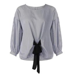 $enCountryForm.capitalKeyWord UK - JAYCOSIN 2018 New Women Plus Size Bandage Striped Lantern Sleeve Pullover Crop Shirt Tops Dropshipping Fashion Shirt Women 07.28