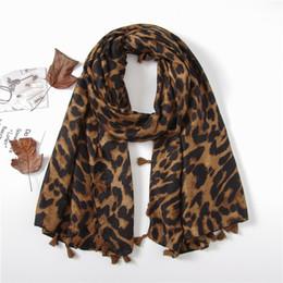 $enCountryForm.capitalKeyWord UK - 6pcs Sexy Leopard Prints with Tassel Fashion Scarf Shawls for Women Girl Summer Wraps Scarves Beach Lady Shawl