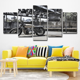 Discount motorcycle oil paint - Modular Canvas HD Prints Posters Wall Art Pictures 5 Pieces Vintage Motorcycle Paintings Home Decor For Living Room