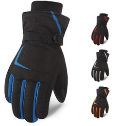 Wrist Band Cycling Australia - 5 Colors Outdoor Ski Gloves Winter Waterproof Snowboard Snow Warm Cold Weather Men Gloves Wrist Band Support FBA Drop Shipping H908R