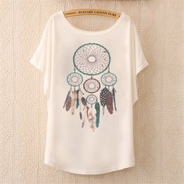 white tees cute print 2019 - 2018 Fashion Women Tops Tees Cute Dream Catcher Printing Cotton T-shirt Women's Short Batwing Sleeve Tshirt on Sale